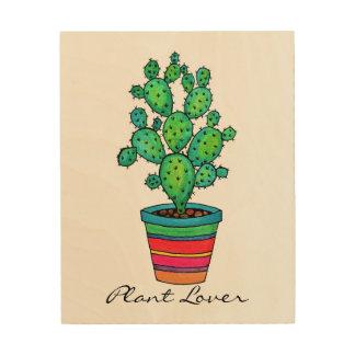 Gorgeous Watercolor Cactus In Beautiful Pot Wood Print
