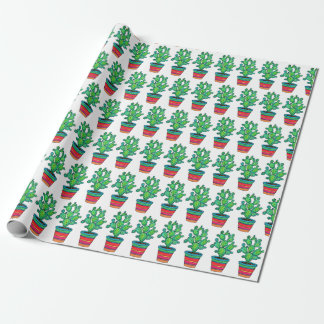 Gorgeous Watercolor Cactus In Beautiful Pot Wrapping Paper