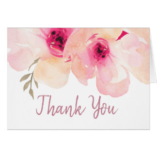 Gorgeous Watercolor Painted Pink Peony Thank You Card