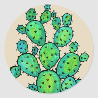 Gorgeous Watercolor Prickly Cactus Classic Round Sticker