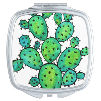 Gorgeous Watercolor Prickly Cactus Compact Mirror