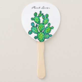 Gorgeous Watercolor Prickly Cactus Hand Fan