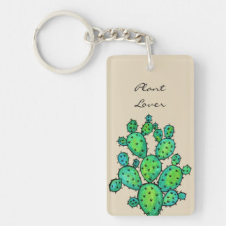 Gorgeous Watercolor Prickly Cactus Key Ring