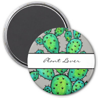 Gorgeous Watercolor Prickly Cactus Magnet