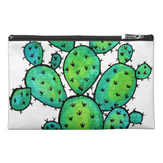 Gorgeous Watercolor Prickly Cactus Travel Accessory Bag