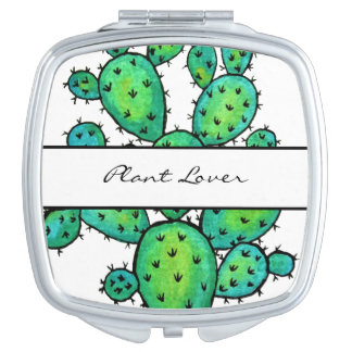 Gorgeous Watercolor Prickly Cactus Travel Mirror