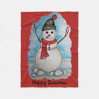 Gorgeous watercolor snowman with scarf and hat fleece blanket