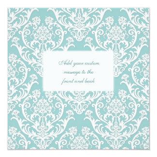 Gorgeous White Damask Pattern 13 Cm X 13 Cm Square Invitation Card