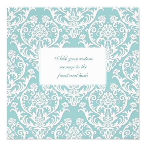 Gorgeous White Damask Pattern Personalized Announcement