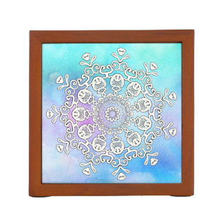 *~* Gorgeous White Mandala on Turquoise Watercolor Desk Organiser