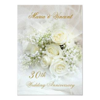 Gorgeous white roses 30th Wedding Anniversary 11 Cm X 16 Cm Invitation Card