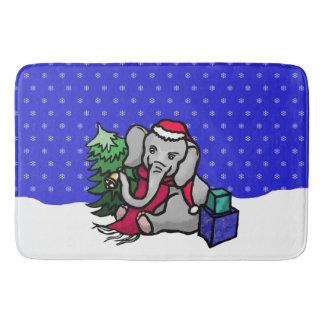 Gorgeous Xmas Santa Elephant in the Snow Bath Mat
