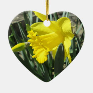 Gorgeous Yellow Daffodils Ceramic Heart Decoration