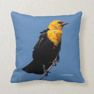 Gorgeous Yellow-Headed Blackbird on a Windy Day Cushion
