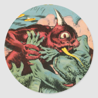 Gorgo and Cyclops Monster Classic Round Sticker