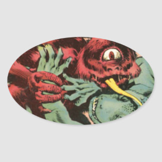Gorgo and Cyclops Monster Oval Sticker