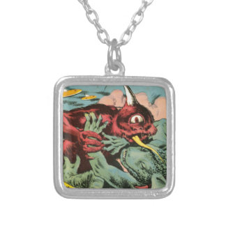 Gorgo and Cyclops Monster Silver Plated Necklace