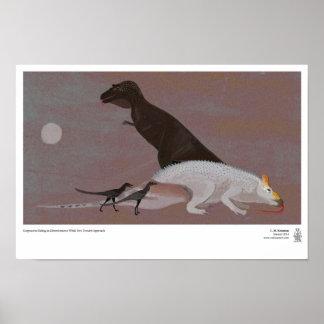 Gorgosaurus Eating an Edmontosaurus Poster