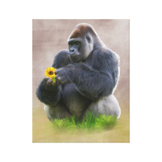 Gorilla and Yellow Daisy Canvas Print