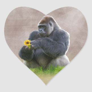 Gorilla and Yellow Daisy Heart Stickers