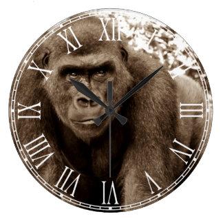 Gorilla Ape Primate Wildlife Animal Photo Large Clock
