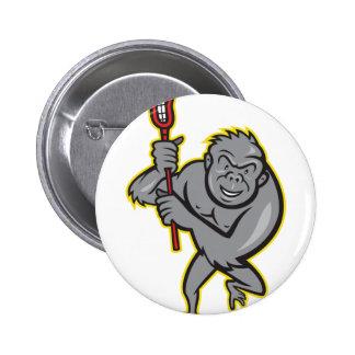 Gorilla Ape With Lacrosse Stick Cartoon Buttons