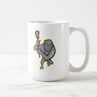 Gorilla Ape With Lacrosse Stick Cartoon Mugs