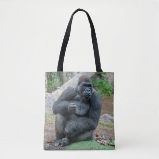 Gorilla at the zoo all-over-print tote bag