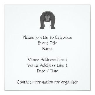 Gorilla Cartoon 13 Cm X 13 Cm Square Invitation Card