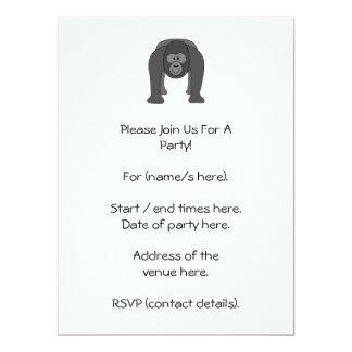 Gorilla Cartoon 17 Cm X 22 Cm Invitation Card