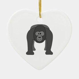 Gorilla Cartoon Ceramic Heart Decoration