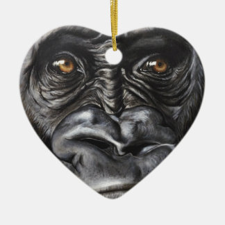 Gorilla Ceramic Heart Decoration