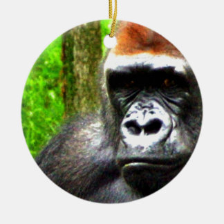 gorilla chillin ceramic ornament