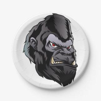 gorilla head illustration 7 inch paper plate