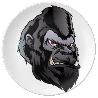 gorilla head illustration porcelain plates