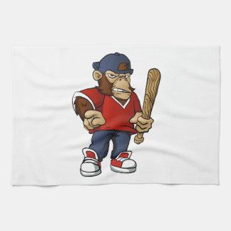 Gorilla Holding Softball Hitting Stick Tea Towel