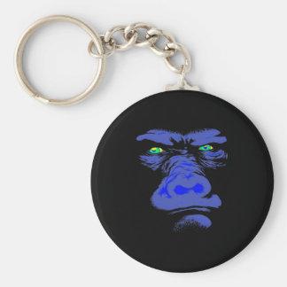 Gorilla in Blue Basic Round Button Key Ring