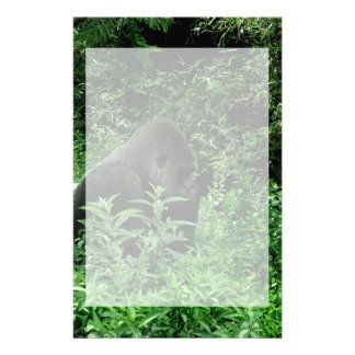 Gorilla in leaves green tint wildlife animal stationery design