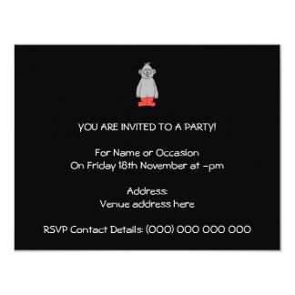 "Gorilla in Red Boots. 4.25"" X 5.5"" Invitation Card"