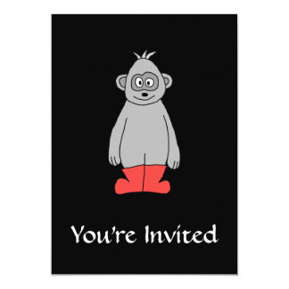"Gorilla in Red Boots. 5"" X 7"" Invitation Card"