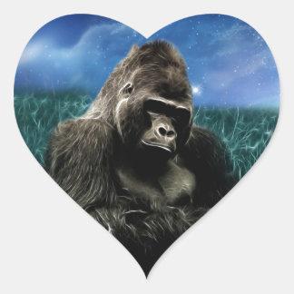 Gorilla in the meadow heart sticker