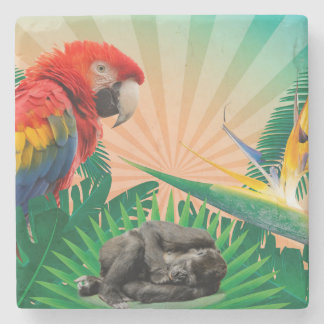 Gorilla jungle parrot stone coaster