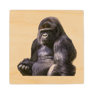 Gorilla Monkey Ape Wood Coaster