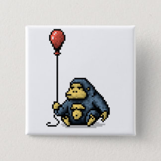 Gorilla Red Balloon Shade Pixel Art Button