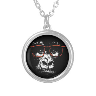 Gorilla Red Glasses Silver Plated Necklace