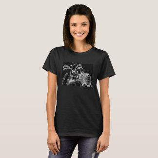 Gorilla Spank Cyborg Lettering Black Women T-Shirt