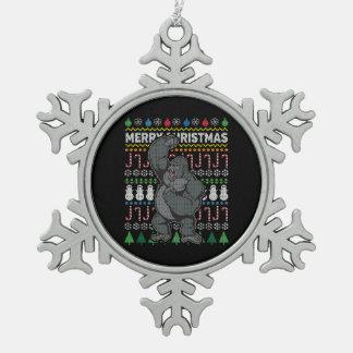 Gorilla Ugly Christmas Sweater Wildlife Series Snowflake Pewter Christmas Ornament