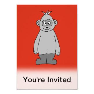 "Gorilla Wearing Boots. 5"" X 7"" Invitation Card"