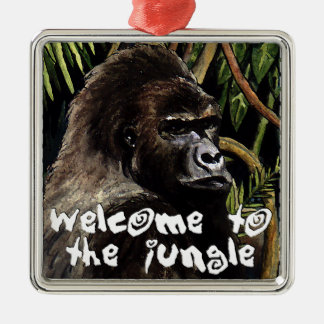 gorilla welcome ton the jungle metal ornament