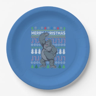 Gorilla Wildlife Merry Christmas Ugly Sweater 9 Inch Paper Plate